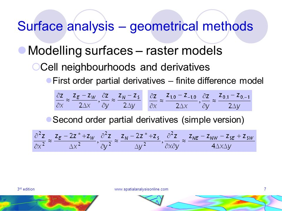 3 rd editionwww.spatialanalysisonline.com18 Surface analysis – geometrical methods Surface geometry – profiles Single profiles Linear transects Polygonal transects