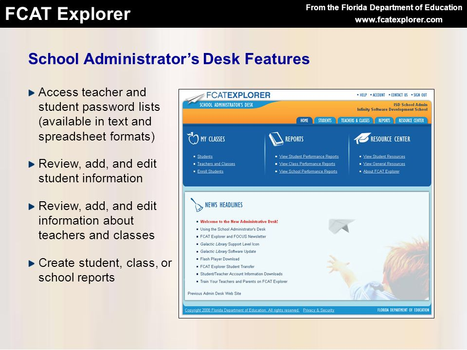 From the Florida Department of Education FCAT Explorer www.fcatexplorer.com Access teacher and student password lists (available in text and spreadshe