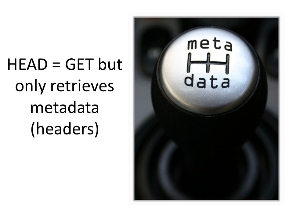 HEAD = GET but only retrieves metadata (headers)