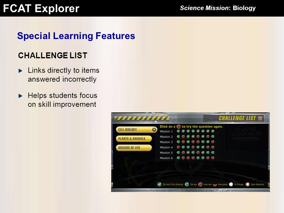 FCAT Explorer Special Learning Features Links directly to items answered incorrectly Helps students focus on skill improvement CHALLENGE LIST Science