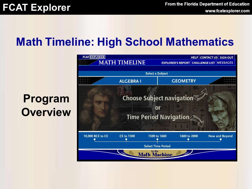 Math Timeline: High School Mathematics From the Florida Department of Education www.fcatexplorer.com Program Overview