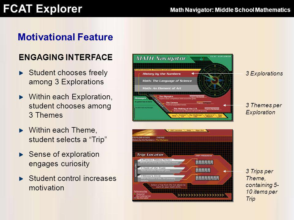 FCAT Explorer ENGAGING INTERFACE Motivational Feature Student chooses freely among 3 Explorations Within each Exploration, student chooses among 3 The