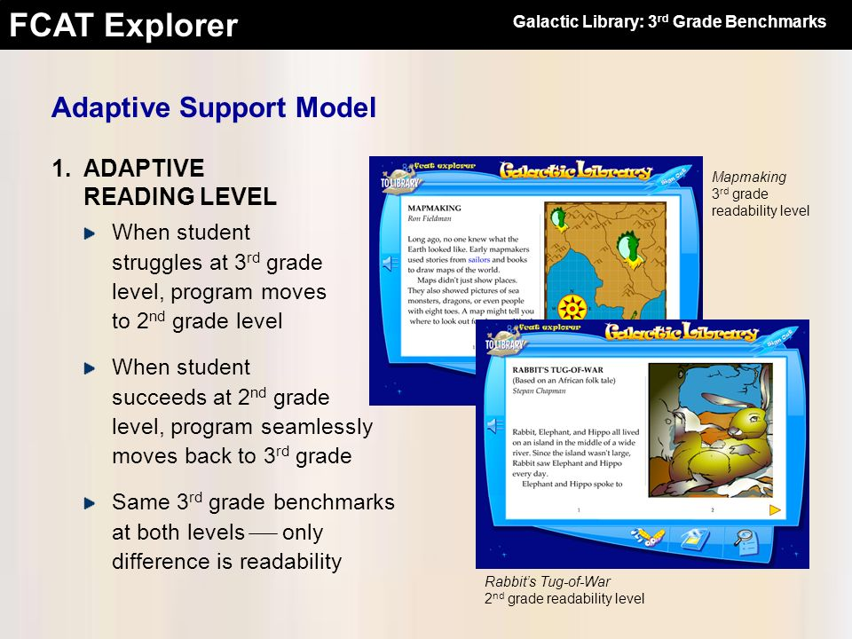 FCAT Explorer Word Click: Click to hear any word Embedded questions: Interim comprehension checks Three levels for both sets of materials Full Support: 2.ADAPTIVE SUPPORT LEVEL Moderate Support: Embedded questions only No Support: Neither Galactic Library: 3 rd Grade Benchmarks Adaptive Support Model