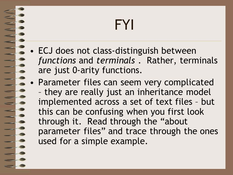 FYI ECJ does not class-distinguish between functions and terminals. Rather, terminals are just 0-arity functions. Parameter files can seem very compli