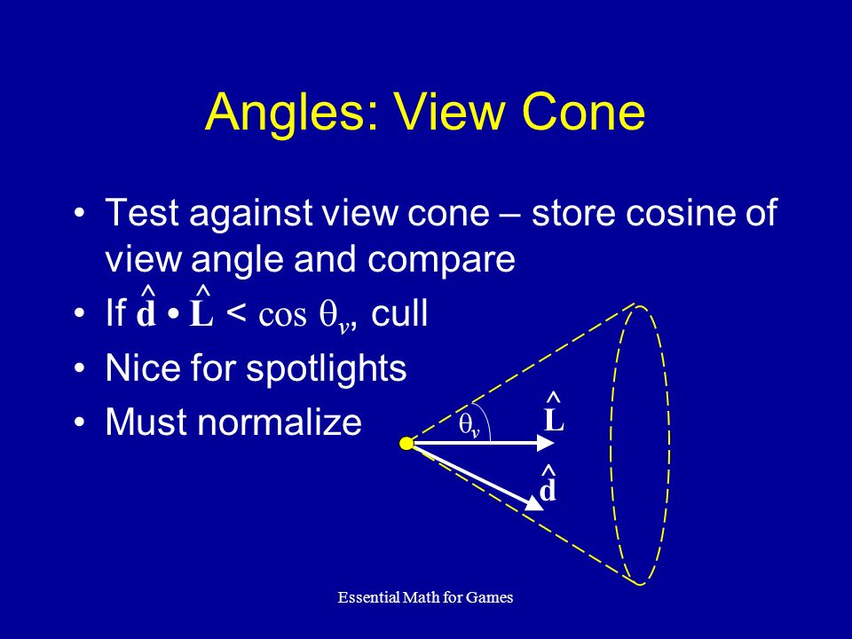 Essential Math for Games Angles: View Cone Test against view cone – store cosine of view angle and compare If d L < cos v, cull Nice for spotlights Mu
