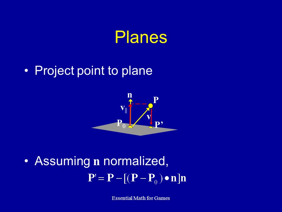 Essential Math for Games Planes Project point to plane Assuming n normalized, n v v || P P0P0 P