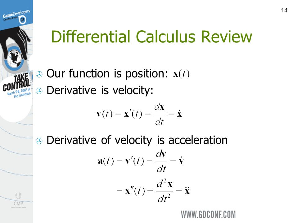 14 Differential Calculus Review Our function is position: Derivative is velocity: Derivative of velocity is acceleration