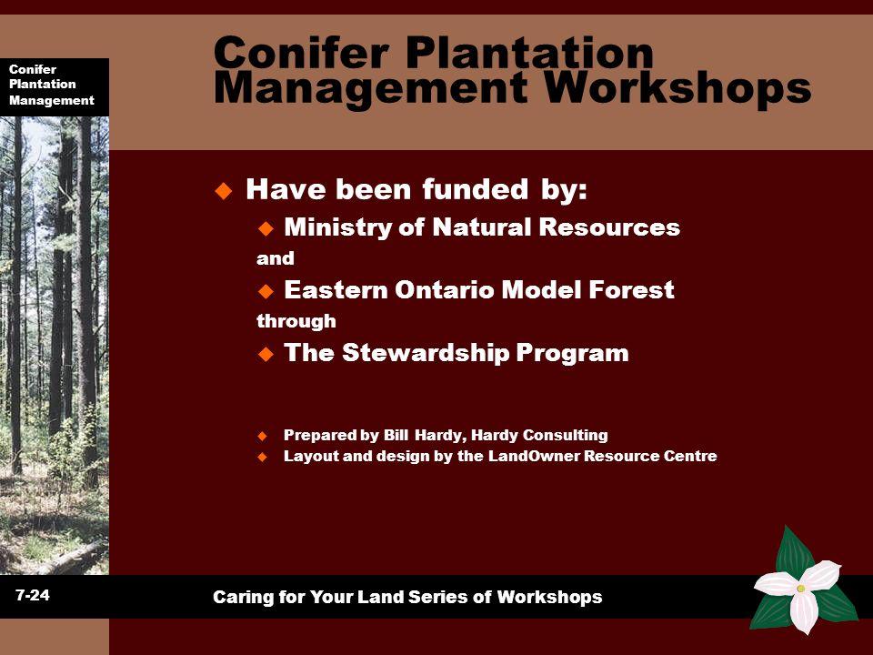 Conifer Plantation Management Caring for Your Land Series of Workshops Conifer Plantation Management Workshops u Have been funded by: u Ministry of Na