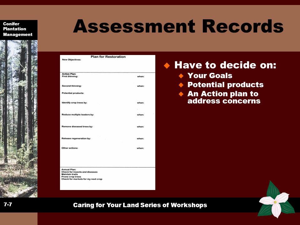 Conifer Plantation Management Caring for Your Land Series of Workshops Assessment Records u Have to decide on: u Your Goals u Potential products u An
