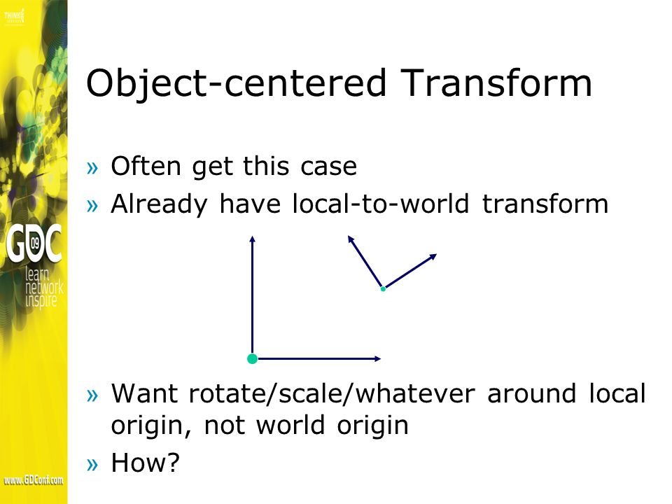 Object-Oriented Transform »One way »Translate to origin »Rotate there »Translate back