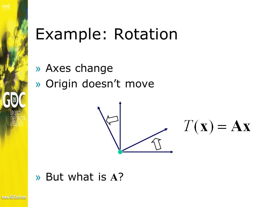 Example: Rotation »Follow the axes: »New axes go in columns of matrix (cos, sin ) (-sin, cos )
