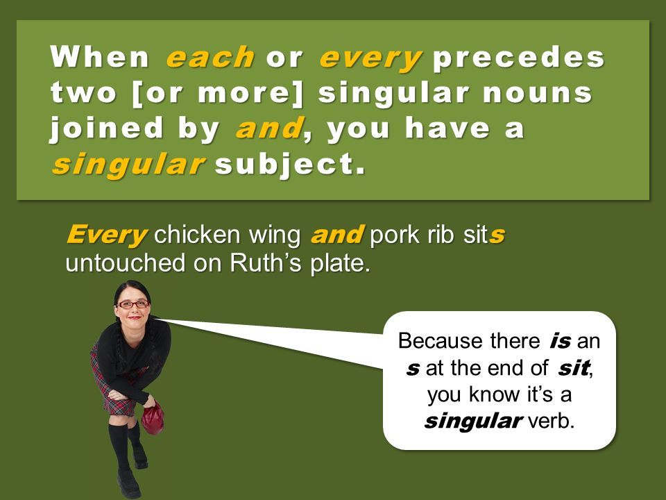 Two [or more] singular nouns joined by and make a plural subject. The chicken wing and pork rib sit untouched on Ruths plate. Because theres no s at t