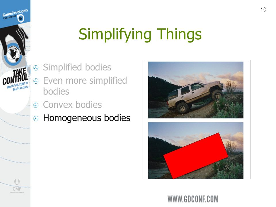 10 Simplifying Things Simplified bodies Even more simplified bodies Convex bodies Homogeneous bodies