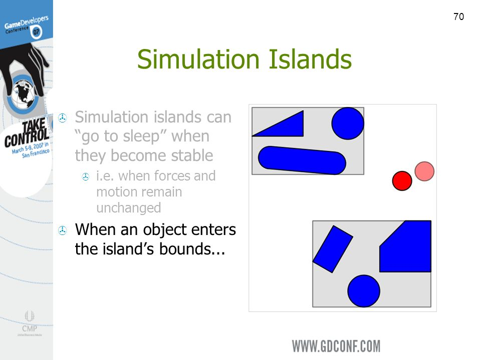 70 Simulation Islands Simulation islands can go to sleep when they become stable i.e.