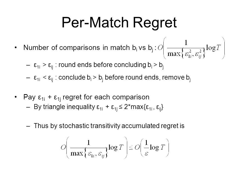 Per-Match Regret Number of comparisons in match b i vs b j : –ε 1i > ε ij : round ends before concluding b i > b j –ε 1i b j before round ends, remove