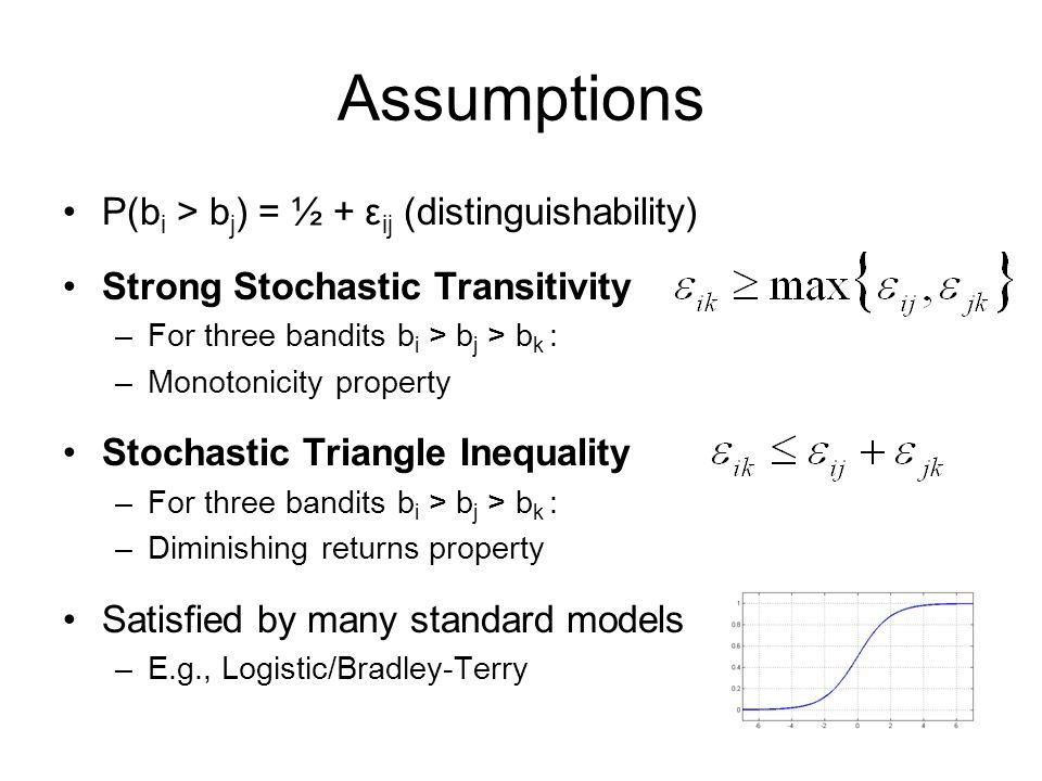 Assumptions P(b i > b j ) = ½ + ε ij (distinguishability) Strong Stochastic Transitivity –For three bandits b i > b j > b k : –Monotonicity property S