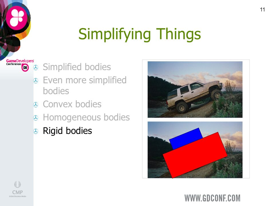 11 Simplifying Things Simplified bodies Even more simplified bodies Convex bodies Homogeneous bodies Rigid bodies