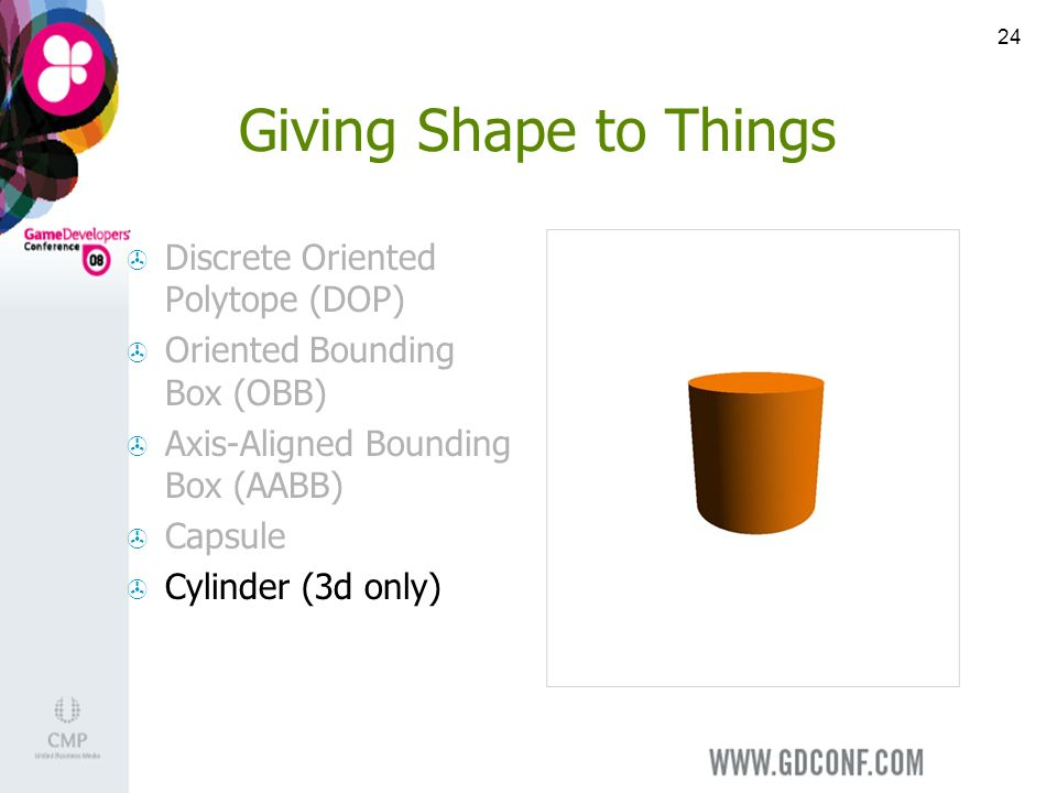 24 Giving Shape to Things Discrete Oriented Polytope (DOP) Oriented Bounding Box (OBB) Axis-Aligned Bounding Box (AABB) Capsule Cylinder (3d only)