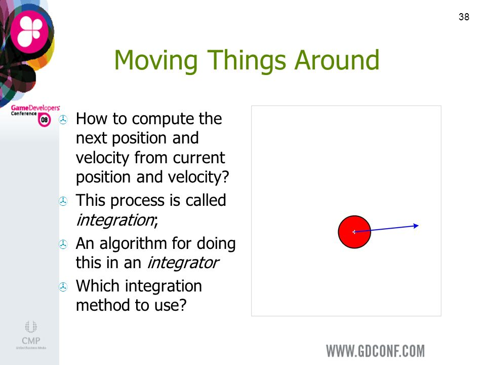 38 Moving Things Around How to compute the next position and velocity from current position and velocity.