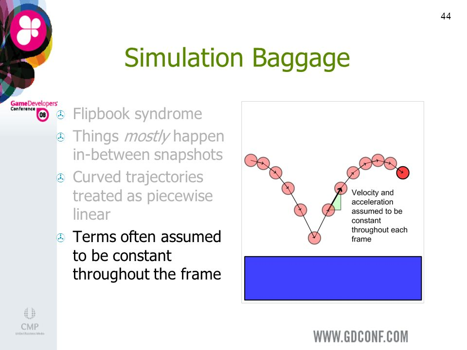 44 Simulation Baggage Flipbook syndrome Things mostly happen in-between snapshots Curved trajectories treated as piecewise linear Terms often assumed to be constant throughout the frame