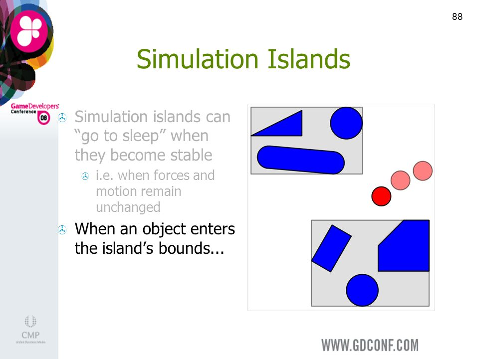 88 Simulation Islands Simulation islands can go to sleep when they become stable i.e.