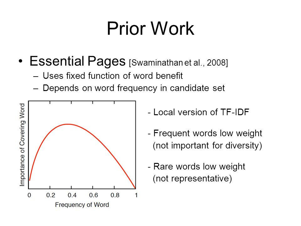 Prior Work Essential Pages [Swaminathan et al., 2008] –Uses fixed function of word benefit –Depends on word frequency in candidate set – - Local versi