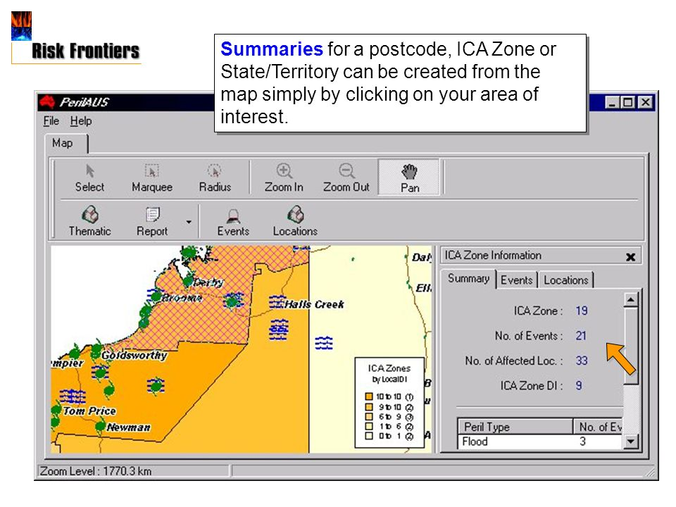 Summaries for a postcode, ICA Zone or State/Territory can be created from the map simply by clicking on your area of interest.