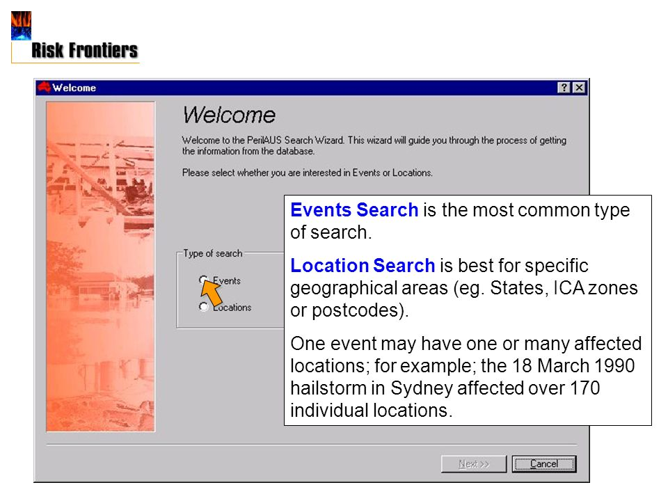 Events Search is the most common type of search.