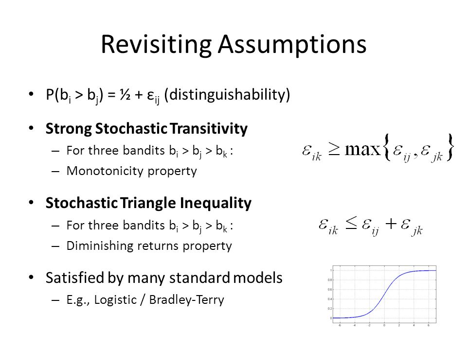 Revisiting Assumptions P(b i > b j ) = ½ + ε ij (distinguishability) Strong Stochastic Transitivity – For three bandits b i > b j > b k : – Monotonici