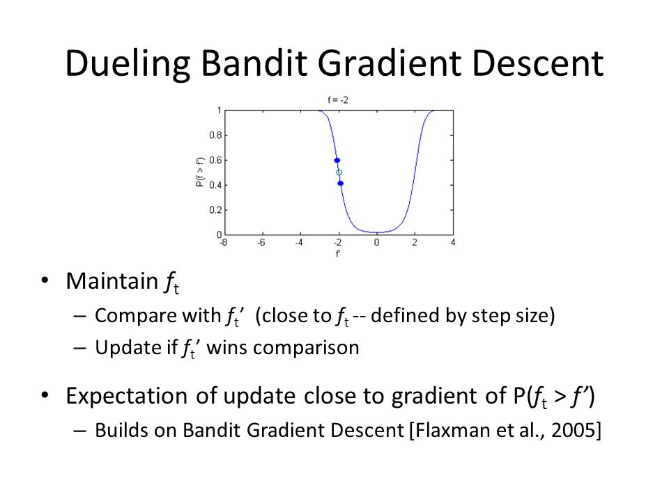 Dueling Bandit Gradient Descent Maintain f t – Compare with f t (close to f t -- defined by step size) – Update if f t wins comparison Expectation of