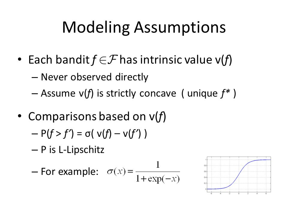 Modeling Assumptions Each bandit f 2F has intrinsic value v(f) – Never observed directly – Assume v(f) is strictly concave ( unique f* ) Comparisons b