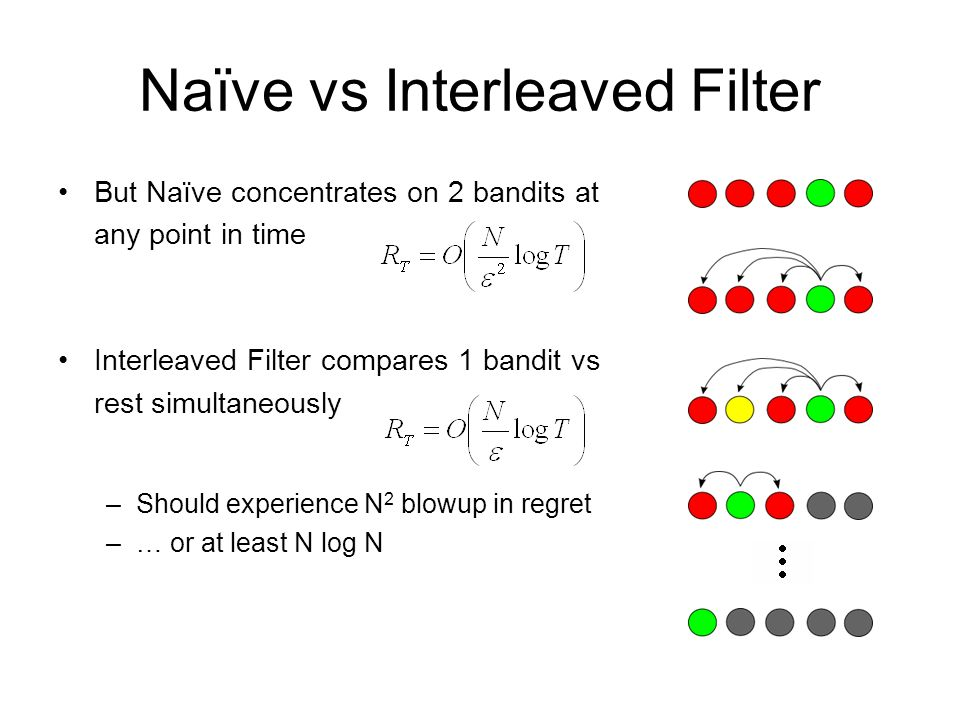 Naïve vs Interleaved Filter But Naïve concentrates on 2 bandits at any point in time Interleaved Filter compares 1 bandit vs rest simultaneously –Shou