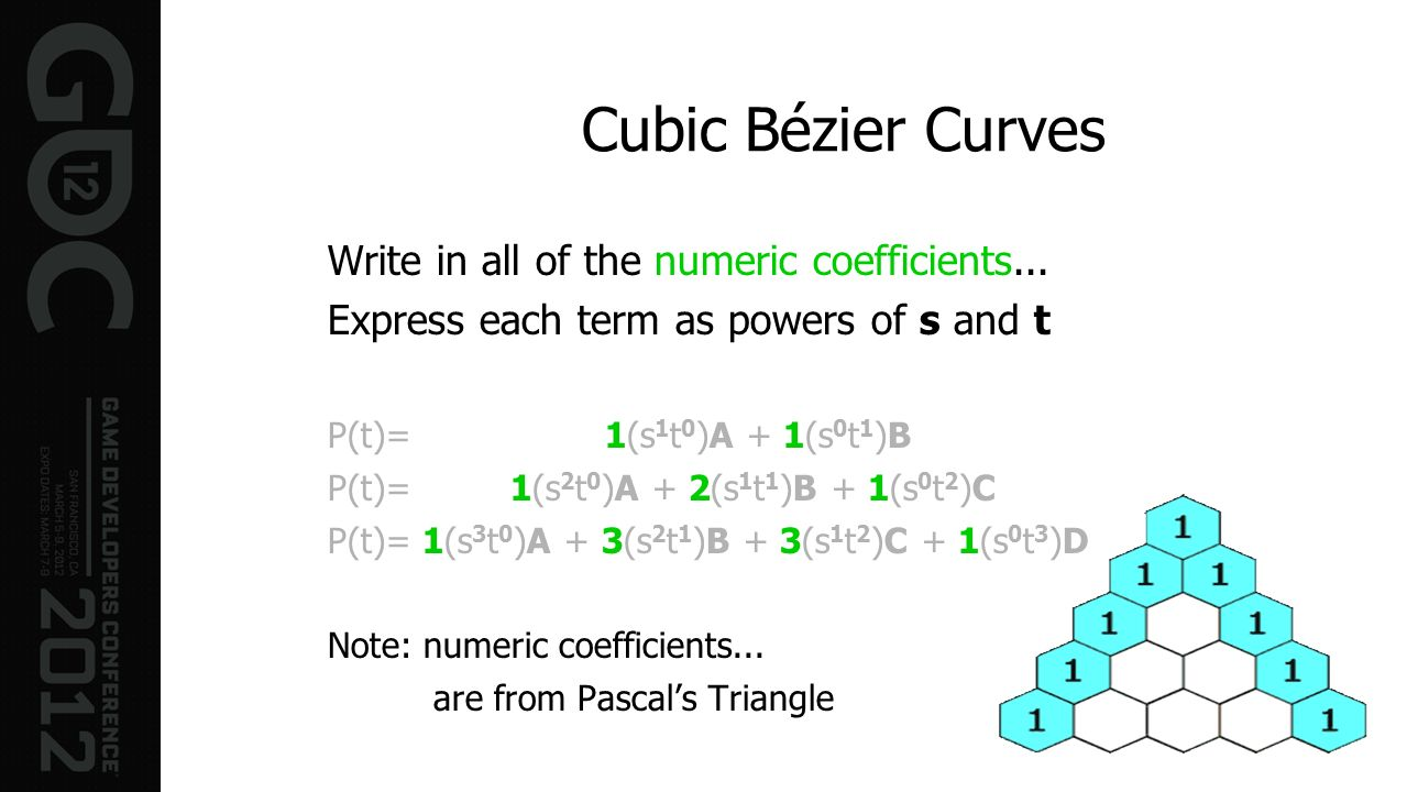 Cubic Bézier Curves Write in all of the numeric coefficients... Express each term as powers of s and t P(t)= 1(s 1 t 0 )A + 1(s 0 t 1 )B P(t)= 1(s 2 t