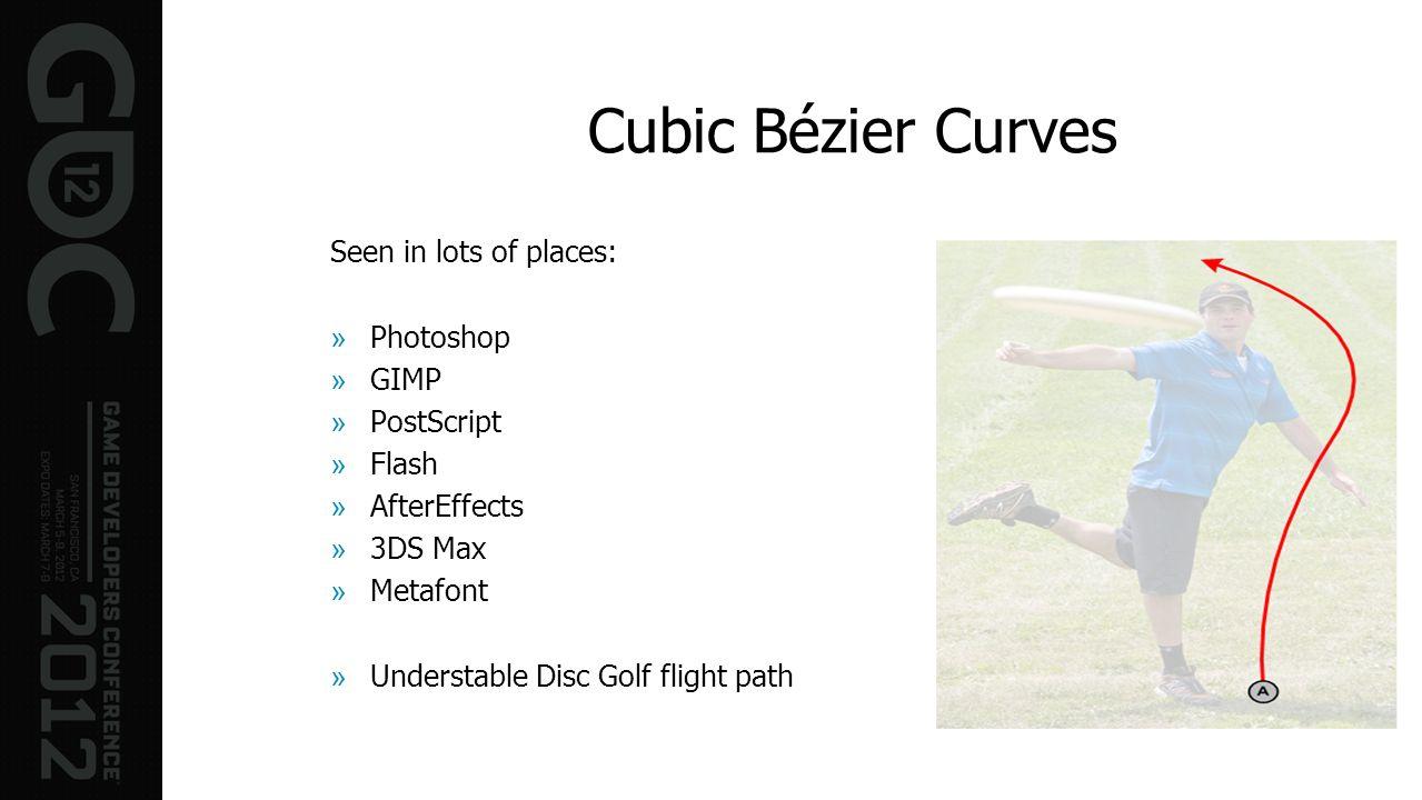 Seen in lots of places: »Photoshop »GIMP »PostScript »Flash »AfterEffects »3DS Max »Metafont »Understable Disc Golf flight path Cubic Bézier Curves