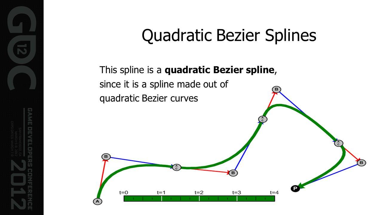 Quadratic Bezier Splines This spline is a quadratic Bezier spline, since it is a spline made out of quadratic Bezier curves