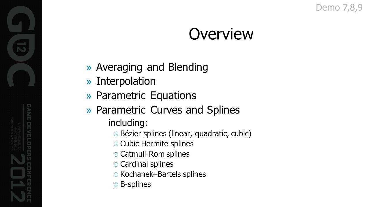 Overview »Averaging and Blending »Interpolation »Parametric Equations »Parametric Curves and Splines including: Bézier splines (linear, quadratic, cub