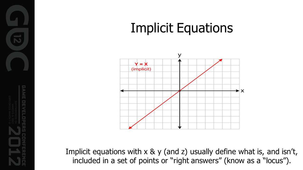 Implicit Equations Implicit equations with x & y (and z) usually define what is, and isnt, included in a set of points or right answers (know as a loc