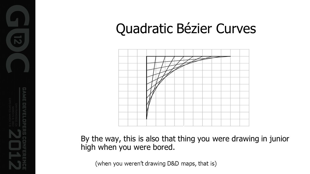 Quadratic Bézier Curves By the way, this is also that thing you were drawing in junior high when you were bored. (when you werent drawing D&D maps, th
