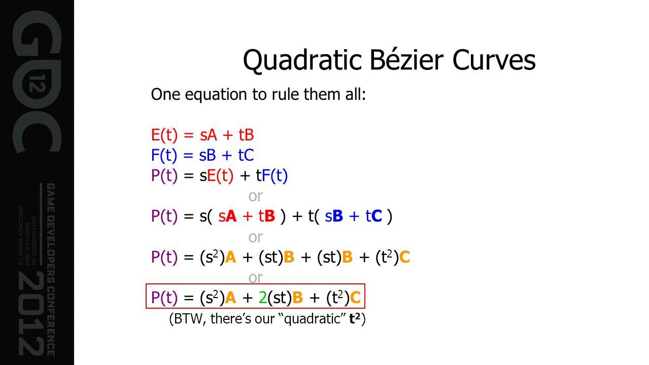 Quadratic Bézier Curves One equation to rule them all: E(t) = sA + tB F(t) = sB + tC P(t) = sE(t) + tF(t) or P(t) = s( sA + tB ) + t( sB + tC ) or P(t
