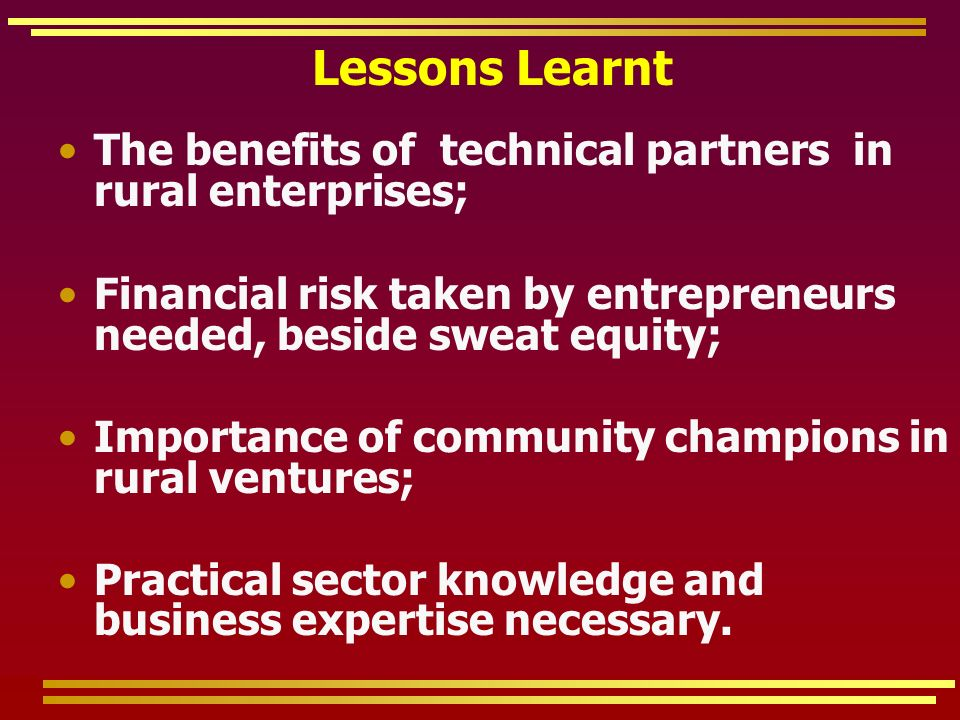 Lessons Learnt The benefits of technical partners in rural enterprises; Financial risk taken by entrepreneurs needed, beside sweat equity; Importance of community champions in rural ventures; Practical sector knowledge and business expertise necessary.