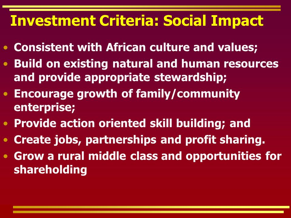 Investment Criteria: Social Impact Consistent with African culture and values; Build on existing natural and human resources and provide appropriate stewardship; Encourage growth of family/community enterprise; Provide action oriented skill building; and Create jobs, partnerships and profit sharing.