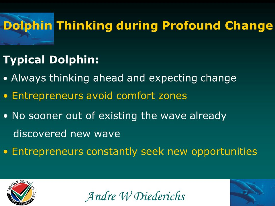 Andre W Andre W Diederichs Dolphin Thinking during Profound Change Typical Shark: Aware of new waves but meet it with resistance Prefer to remain in familiar waters – cannot fail If changes are to be made – make sure no harm will come to them Spread messages like its just a fad, stick to the basics