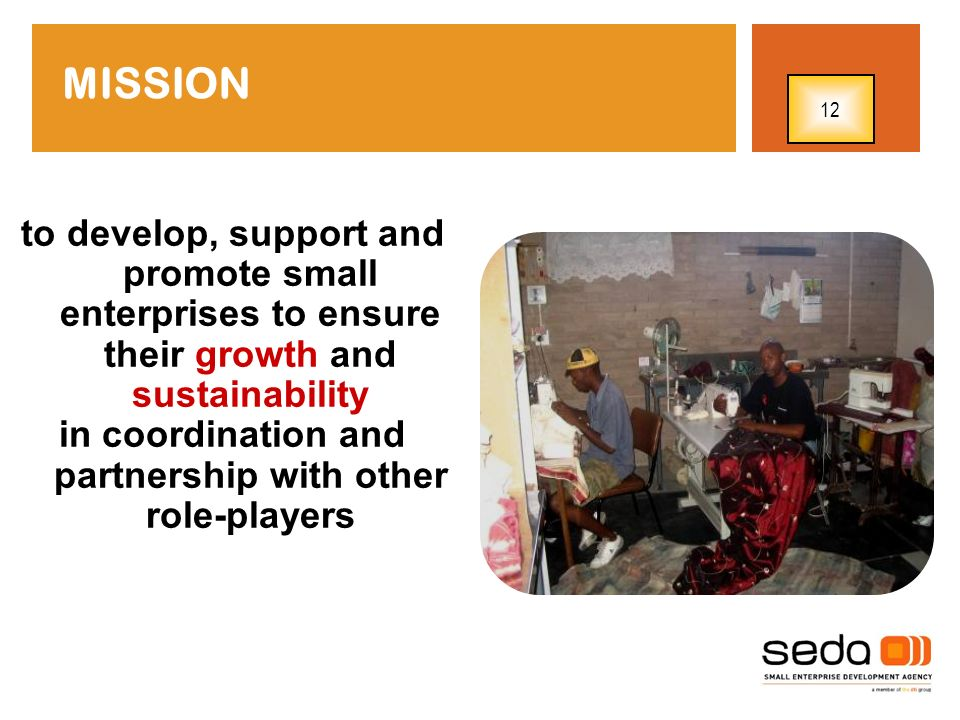 to develop, support and promote small enterprises to ensure their growth and sustainability in coordination and partnership with other role-players MI