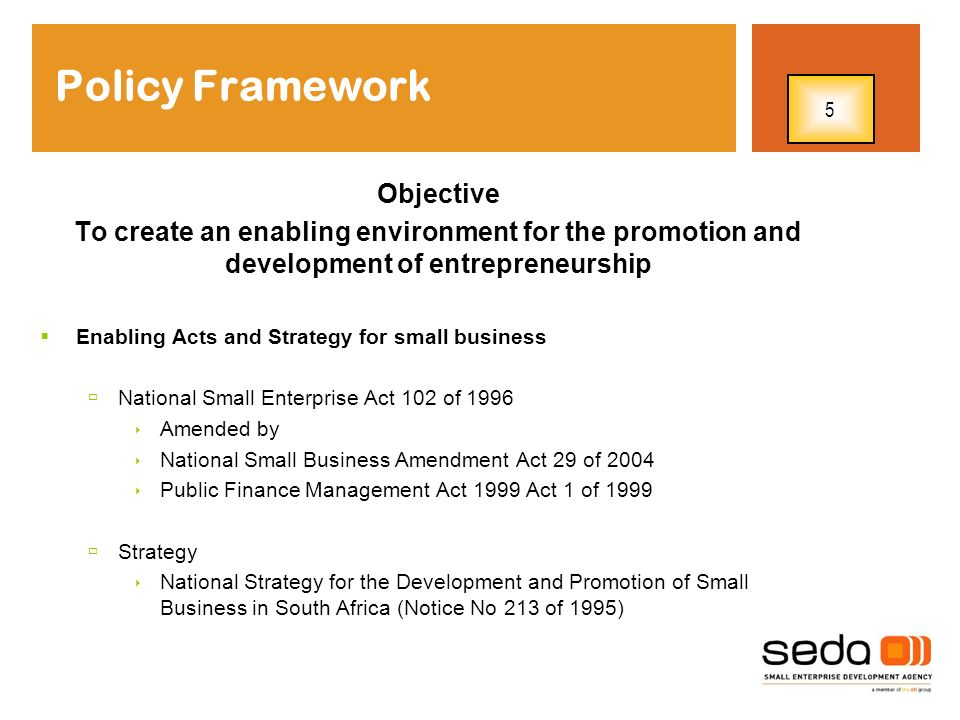 Strategic Actions Strategic Pillar 1: Increase supply for financial and non-financial support services Reduce small enterprise regulatory constraints Creating demand for small enterprise products and services Strategic Pillar 3: Strategic Pillar 2: The dtis strategy for the promotion of entrepreneurship As an integrator of policies, institutions and programmes, the strategy seeks to ensure that adequate support and delivery mechanisms exist across the entire entrepreneurship continuum- pre-start-up to start-up, business survival, growth and expansion, turnaround of ailing businesses 6