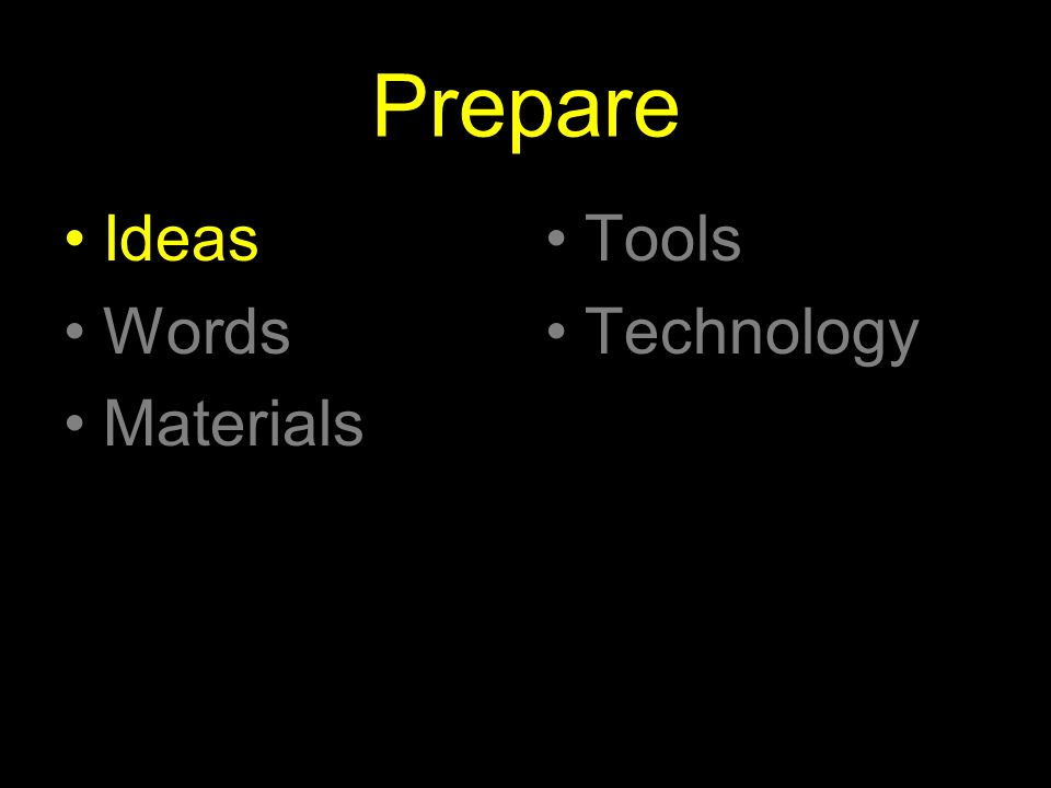 Prepare Ideas Words Materials Tools Technology
