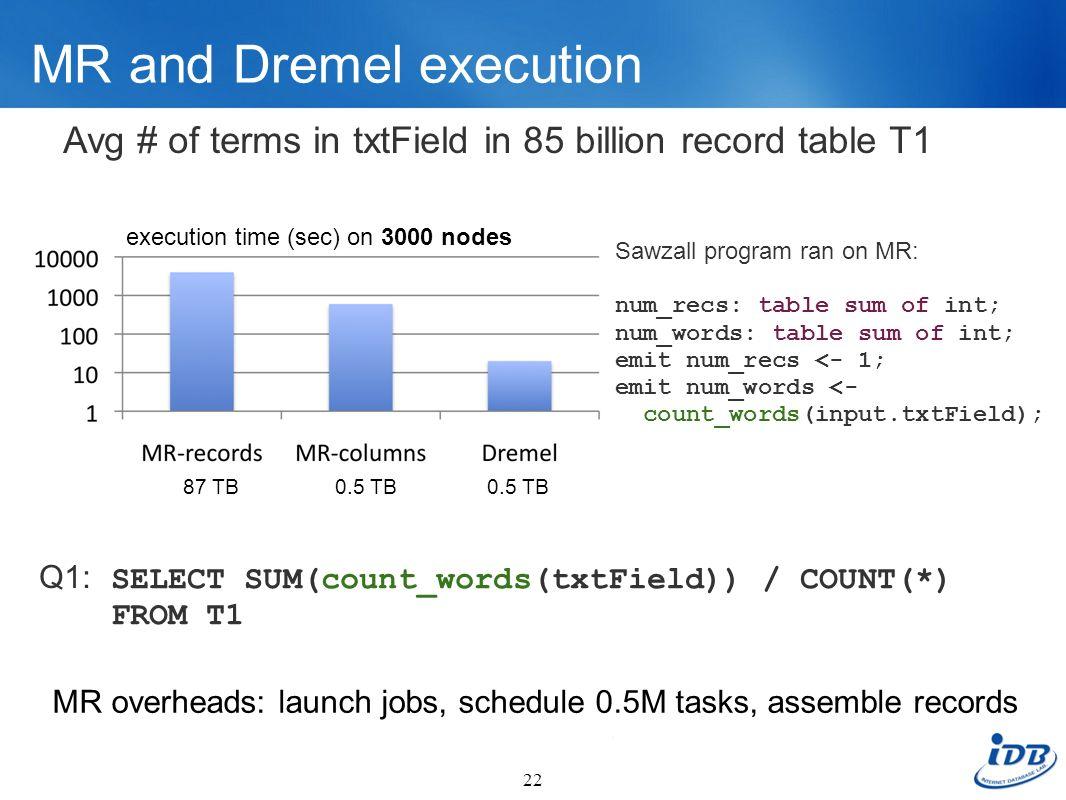 MR and Dremel execution 22 Sawzall program ran on MR: num_recs: table sum of int; num_words: table sum of int; emit num_recs <- 1; emit num_words <- c