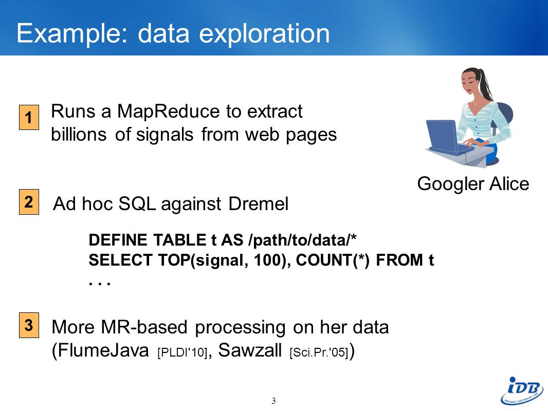 Example: data exploration 3 Runs a MapReduce to extract billions of signals from web pages Googler Alice DEFINE TABLE t AS /path/to/data/* SELECT TOP(