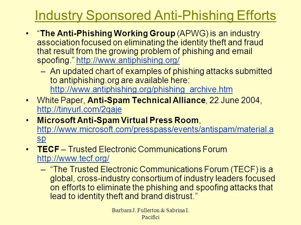 Barbara J. Fullerton & Sabrina I. Pacifici Industry Sponsored Anti-Phishing Efforts The Anti-Phishing Working Group (APWG) is an industry association