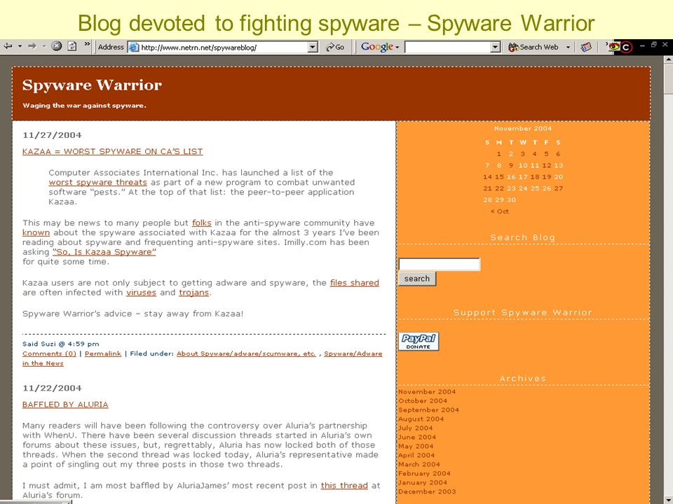 Barbara J. Fullerton & Sabrina I. Pacifici Blog devoted to fighting spyware – Spyware Warrior