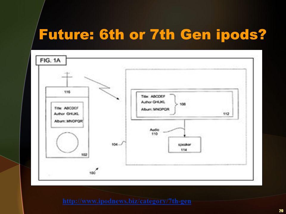 20 Future: 6th or 7th Gen ipods? http://www.ipodnews.biz/category/7th-gen